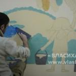 Работа над картиной в детском саду Звездочка